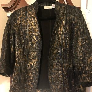Chico's jacket black gold and leather
